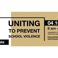 Image of Save the Date notice for Uniting to Prevent School Violence on April 16, 2019, 8 am to 4 pm, University of Colorado, Anschutz Medical Campus, Education 2 South, Auditorium, Room 1102